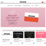 $10 Bonus Gift Card on Gift Card Purchase of $100 @ Myer