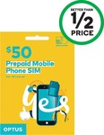 Optus $50 Pre-Paid Sim Starter Kit $15 @ Woolworths