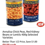Annalisa Chick Peas, Lentils, or Red Kidney Beans 400g $0.50 @ IGA