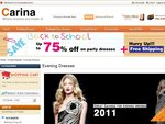 Evening Dresses, Wedding Dresses $20 OFF at Carina Dresses + Free Shipping