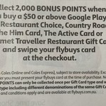 2,000 flybuys Points (Worth $10) on $50 Google / Him / Active / Gourmet Gift Cards @ Coles in-Store