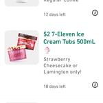Strawberry Cheesecake or Lamington Ice Cream 500ml Tubs $2 @ 7 Eleven via App