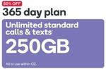 50% off: Kogan Mobile Prepaid LARGE (365 Days FLEX | 250GB) $135 @ Kogan.com