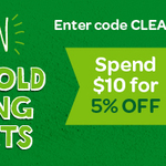 5% off $10 Spend, 10% off $25 Spend on all Household Cleaning Products at Woolies Online