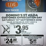 Domino's St Kilda (VIC) Customer Appreciation Day - Any Pizza $3.95 Pickup