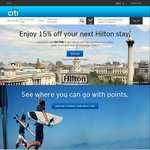 15% off Any Hilton Hotel with Code for Citibank Reward Program Customers