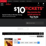 Events Cinema Top Ryde & Burwood NSW - $10- $14 Movie Ticket with Cinebuzz Membership
