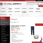 Hard Yakka Legends, Narrow Fit Work Pants $38.50 (+~$15 Delivery, Free >$100) @ At-Call Safety