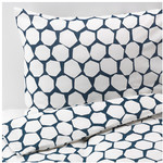 FLÖNG Quilt Cover and Pillowcases, Blue, White $12.99 (S), $16.99 (Q), $19.99 (K) @ IKEA