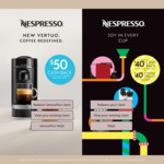 $50 Cashback with The Purchase of a Nespresso VertuoPlus