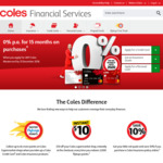 0% Interest for 15 Months on Purchases on Any Coles Mastercard