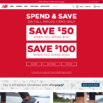 $50 off $150 Purchases, $100 off $300 (Full Priced Items) at New Balance