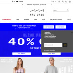 40% off Sitewide (Combines with 20% off UNiDAYS or Groupon Voucher) @ Factorie