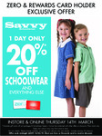 [ACT] 20% off Savvy School Uniforms @ Lowes