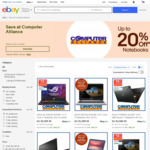20% off Notebooks @ Computer Alliance eBay (Max Discount $500)
