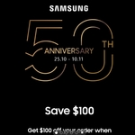 Samsung 50th Anniversary - $100 off $1000+ Purchase @ Samsung Education Store