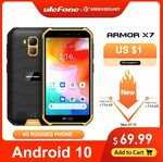 Ulefone Armor X7 5.0-Inch Android10 (5.0 Inch 2GB /16GB Quad-Core) US $69.99 (~AU $116.85) @ AliExpress