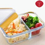 Leakproof 1040ml 2 Compartment Glass Food Storage Containers $19.54 + Delivery ($0 with Prime/ $39 Spend) @ 9 ABS Amazon AU