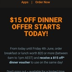 [NSW] Spend $20 and Receive a $15 off Dinner Voucher to Use on The Same Day @ Menulog
