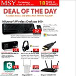 Microsoft Wireless Desktop 800 Keyboard & Mouse - $2 after $16 Cashback @ MSY