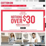 Cotton On - Nothing over $30 - Instore and Online