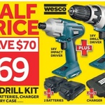 Wesco 18V Cordless Driver Drill and Impact Driver $69 (save $70) @ Masters
