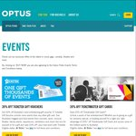 20% off Ticketmaster or Ticketek eGift Cards ($50 for $40, $100 for $80) - Optus Perks