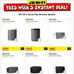 $50 off Sonos Play Speakers - Sonos Play:1 for $249, Play:3 for $398, Play:5 for $699 @ JB Hi-Fi (Instant Deals Members)