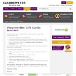 Woolworths WISH eGift Cards 5.55% off @ Cashrewards
