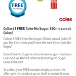 FREE Coke No Sugar 250mL Can from Coles (Flybuys Members)