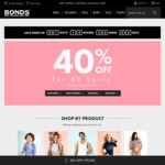 Bonds 40% off Full Priced Items Site-Wide for 40 Hours + Free Shipping and Returns