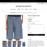 Sportscraft Check Cargo Short (Limited Sizes - W34 & W36 Only) $10