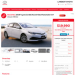 [NSW] 2018 Toyota Corolla Ascent Hatch Automatic CVT (Glacier White) Runout $19,990 Driveaway @ Lander Toyota Blacktown
