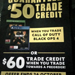 Call of Duty: Black Ops 4 - $50 Trade Credit OR $60 Trade Credit Towards Pre-Order @ EB Games