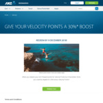 30% Velocity Points Bonus on ANZ Reward Points Transfers