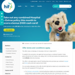 $100 EFTPOS Card for Combined Extras & Hospital Policy from HIF (Not-for-Profit Health Insurance)
