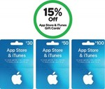 15% off $30, $50 & $100 App Store & iTunes Gift Cards @ Woolworths
