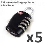 5x TSA Approved! 4 DIAL Travel Luggage Lock $19.99 + Free Shipping