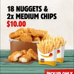18 Nuggets and 2x Medium Chips $10 @ Hungry Jack's via App