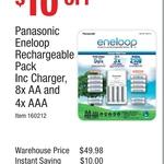 Panasonic Eneloop Rechargeable Battery Pack (8x AA & 4x AAA)$39.98@ Costco (Membership Required)