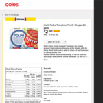 Mutti Polpa Tomatoes Finely Chopped 400g 2pk $2 @ Coles