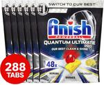 Finish Quantum Ultimate Pro Lemon Sparkle Dishwasher Tablets 6x48 Pack $99 ($0.344/Tablet) + Post ($0 to Selected Areas) @ Catch