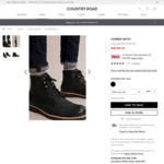 Men's Combat Boots Black $79.96 at Checkout (RRP $249) Delivered @ Country Road