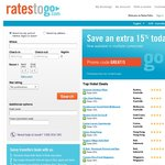 15% off Bookings at RatesToGo.com until 11/8. Valid for Bookings up to 31/12/13