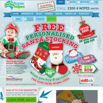 Free Personalised Santa Stocking Worth $49.98 with Red Nose Baby Wipes 100s $35.97 @Aussie Wipes