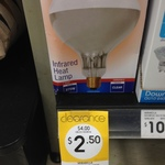 Mirabella Dimmable Infrared Heat Lamp (275W Clear) $2.50 @ Kmart