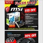 1 Hour Flash Sale @ MSY - MSI N750ti 2GB $107 - Logitech G502 Proteus Spectrum $59 - Crucial MX300 1TB SSD $379