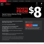 Event Cinemas: Special Cinebuzz Member Pricing from $8 at Select Cinemas in NSW/QLD