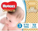 Huggies Ultimate Nappies Size 3 Crawler (6-11kg) $19.99/Box (72pk) + Delivery (Free with Prime/ $49 Spend) @ Amazon AU