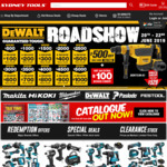 Dewalt Roadshow  20% Store Credit on Spends in $500 Intervals up to $5000 @ Sydney Tools